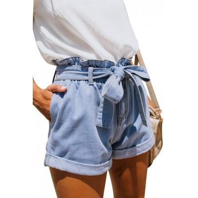 Női kék rövidnadrág kötéssel
