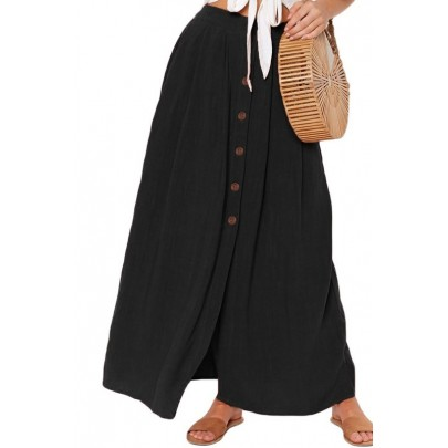 Női fekete szoknya gombokkal