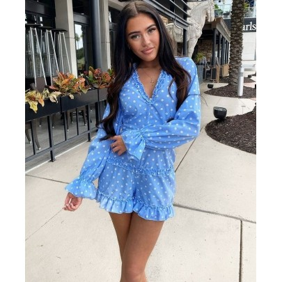 Női kék pöttyös overall