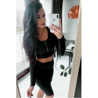 Női fekete szett - szoknya és póló