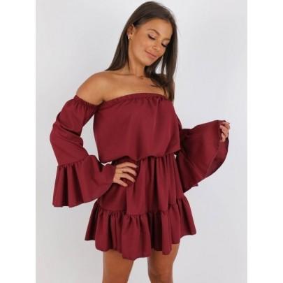 Női nyári ruha bordó színben BELLA