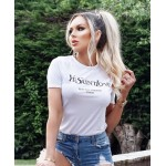 Női fehér kényelmes póló