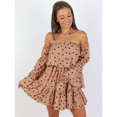 Női nyári ruha bézs színben BELLA