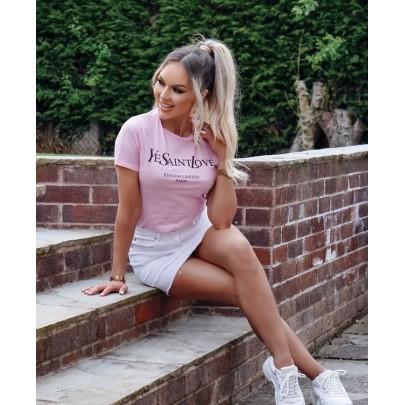 Női rózsaszín kényelmes póló