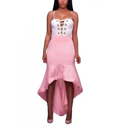 Női aszimmetrikus rózsaszín szoknya