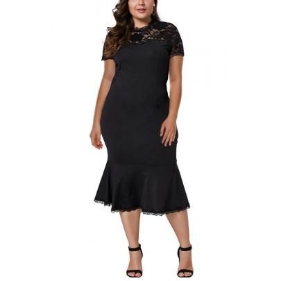 Női fekete plusz size midi ruha Rosmunda