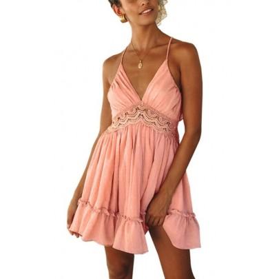Női rózsaszín nyári mini ruha VIOLETTA