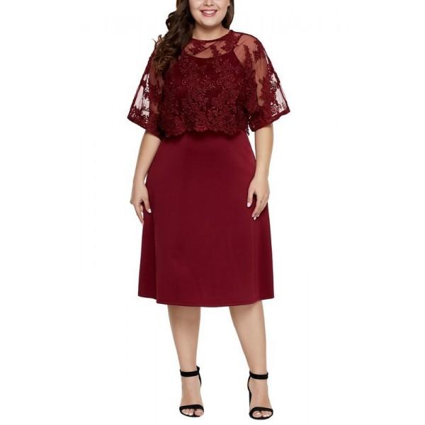 Női bordó plusz size midi ruha Serafina