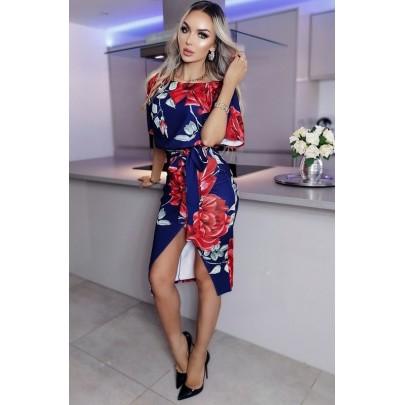 Női kék virágos ruha PAOLINA
