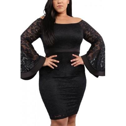Női plusz size ruha - fekete