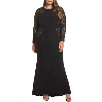Hosszú plusz size ruha - fekete