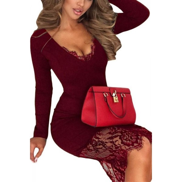 Női csipkés ruha - burgundy