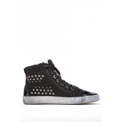Női szegecses sportcipő - Hi-Top fekete