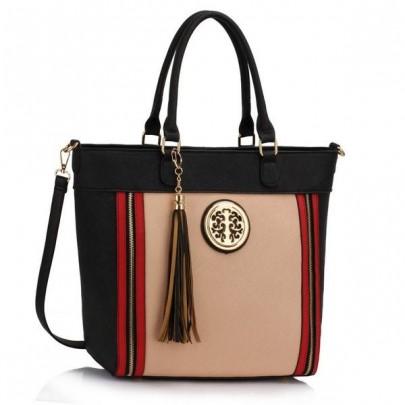Divatos táska - fekete/bézs