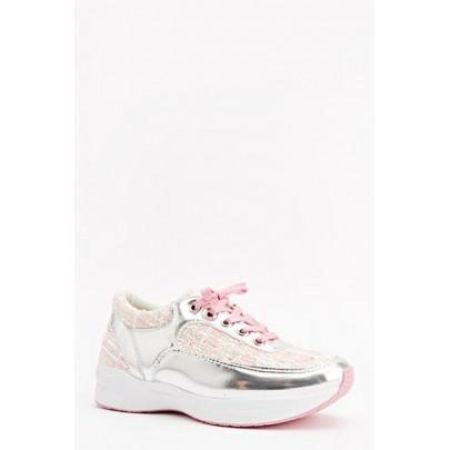 Női sportcipő - rózsaszín ezüst