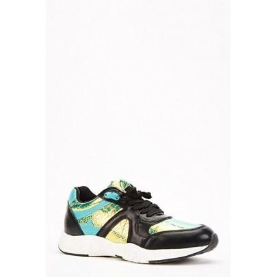 Női sportcipő Croc fekete - zöld