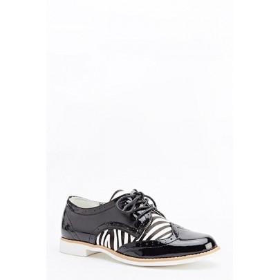 Női félcipő Print Zebra - fekete