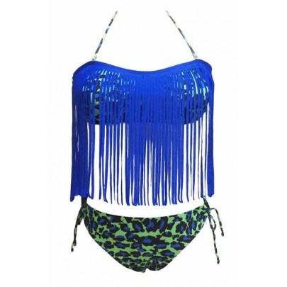 Fürdőruha rojtokkal - kék