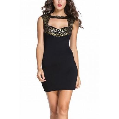 Női ruha díszítéssel Sandra - fekete