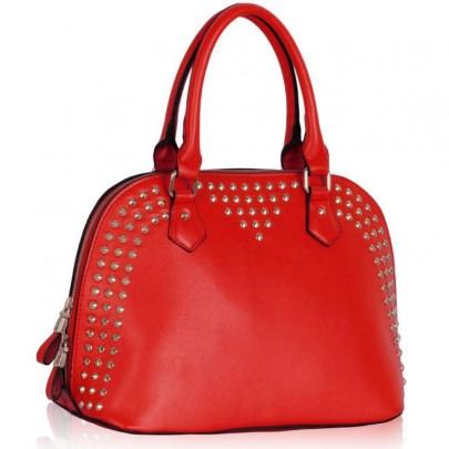 Női szegecses táska piros