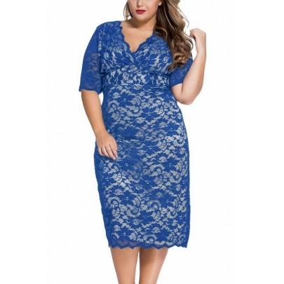 Plusz size midi ruha Abril - kék