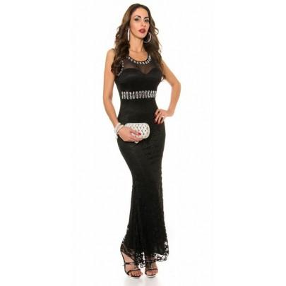Hosszú fekete divatos ruha Amelina csipkével