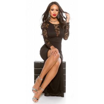 Női hosszú alkalmi ruha csipkével Heidi - fekete