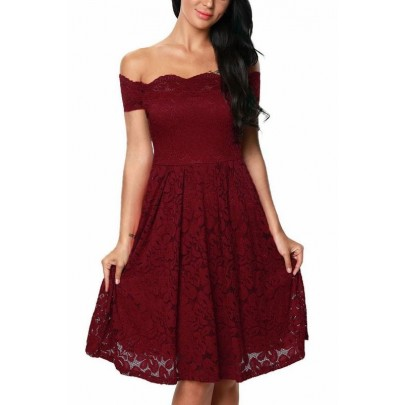 Plusz size ruha Emily - vörös