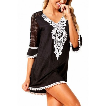 Csipkével díszített strandruha - fekete