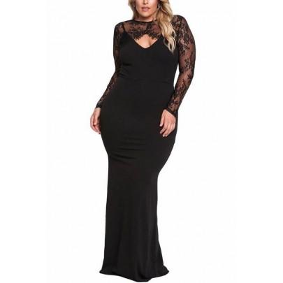 Hosszú plusz size ruha Nadia - fekete