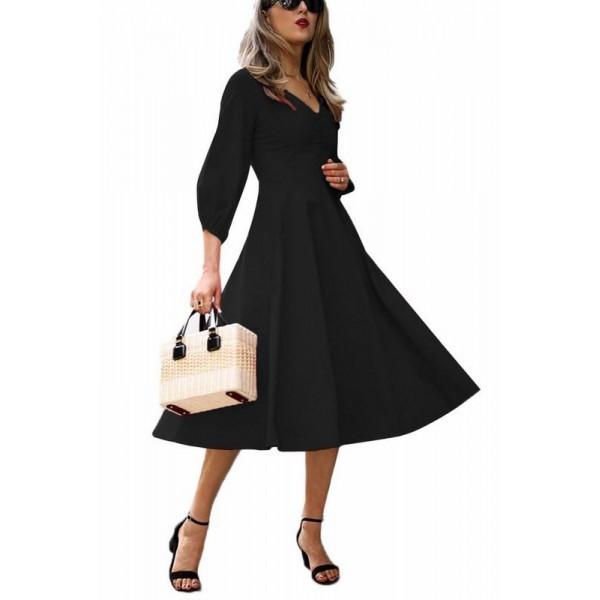 Alessia stílusos női ruha - fekete