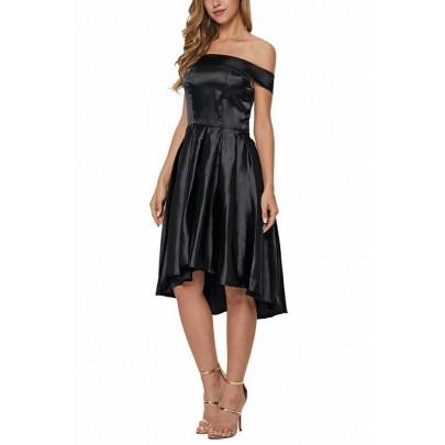 Rebecca fekete szatén női ruha