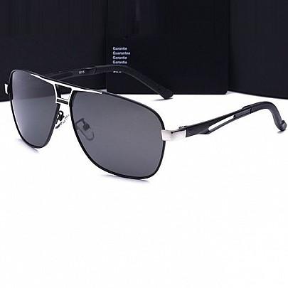 Polarizált pilóta napszemüveg Luxury - ezüst fekete