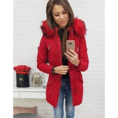 Divatos női téli dzseki - piros vty0442