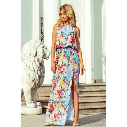 Női világoskék virágmintás ruha MICAELA 191-5