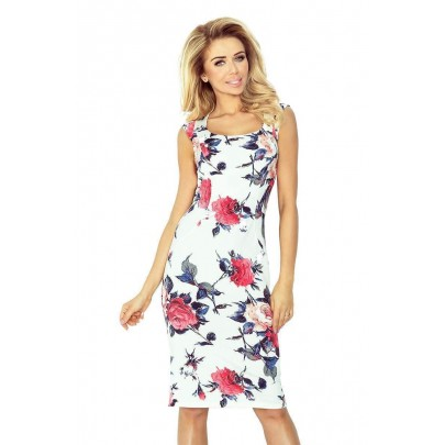 Női virág mintás ruha Tiffany - fehér v53-30 2f2702e656