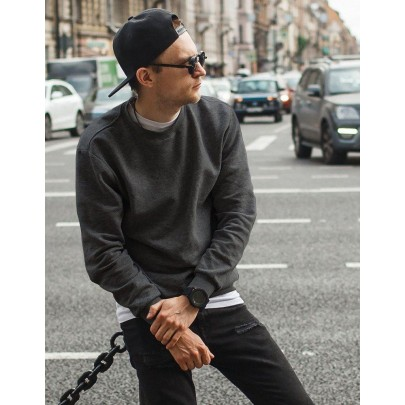 Szürke férfi pulóver kapucni nélkül bx4191