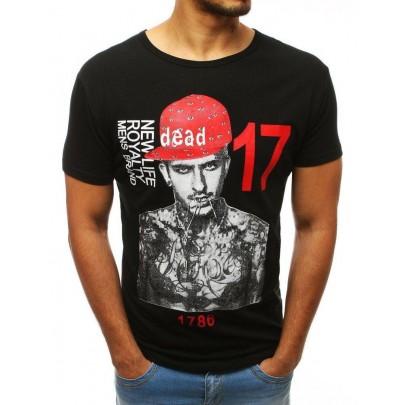 Fekete egyedi férfi póló nyomtatással rx3514