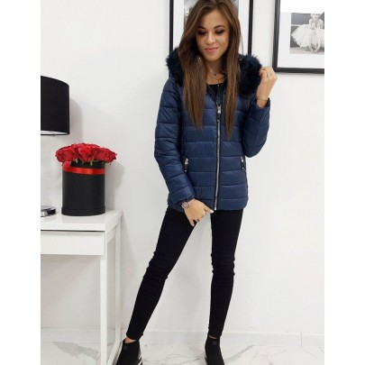 Női téli kék kabát eltávolítható kapucnival vty1004