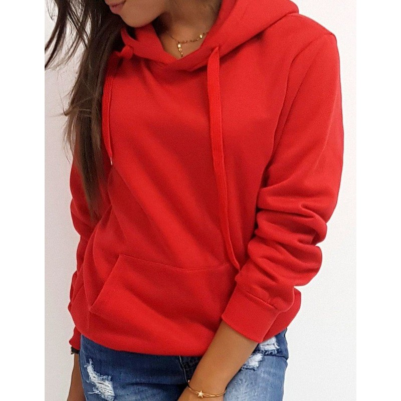 Női pulóver piros színben kapucnival by0175   Bellago.hu