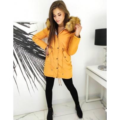 Téli kétoldalas sárga női parka kabát ty1465