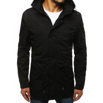 Átmeneti fekete férfi kabát kapucnival tx2883