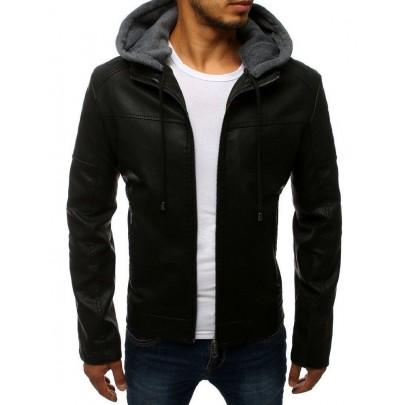 Férfi bőrkabát fekete színben kapucnival vtx2783