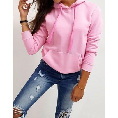Női pulóver világos rózsaszín színben kapucnival vby0174