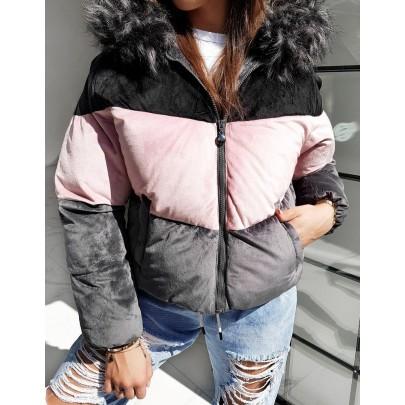 Női háromszínű fekete kabát ty1395