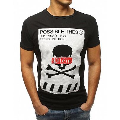 Fekete férfi póló nyomtatással rx3184