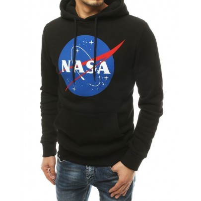 Férfi stílusos fekete pulóver NASA felirattal vbx4770