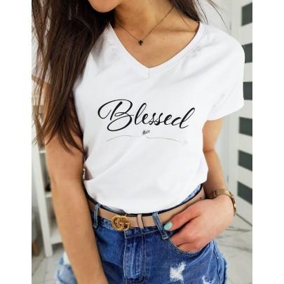 Kényelmes fehér női póló felirattal ry1269