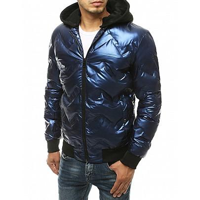 Érdekes férfi kék kapucnis kabát vtx3440