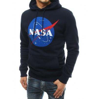 Férfi stílusos kék pulóver NASA felirattal bx4768
